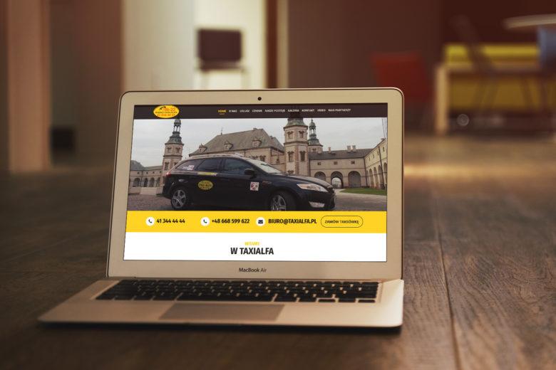 Strona internetowa kieleckiej korporacji taksówkarskiej Radio Taxi ALFA