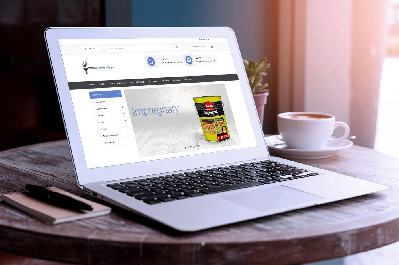 Projekt sklepu internetowego tanieimpregnaty.pl - wizualizacja 1