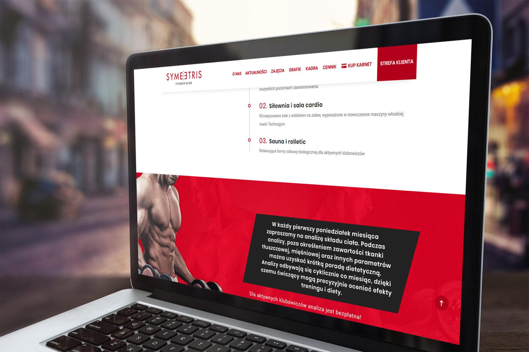 Strona www dla siłowni Symetris