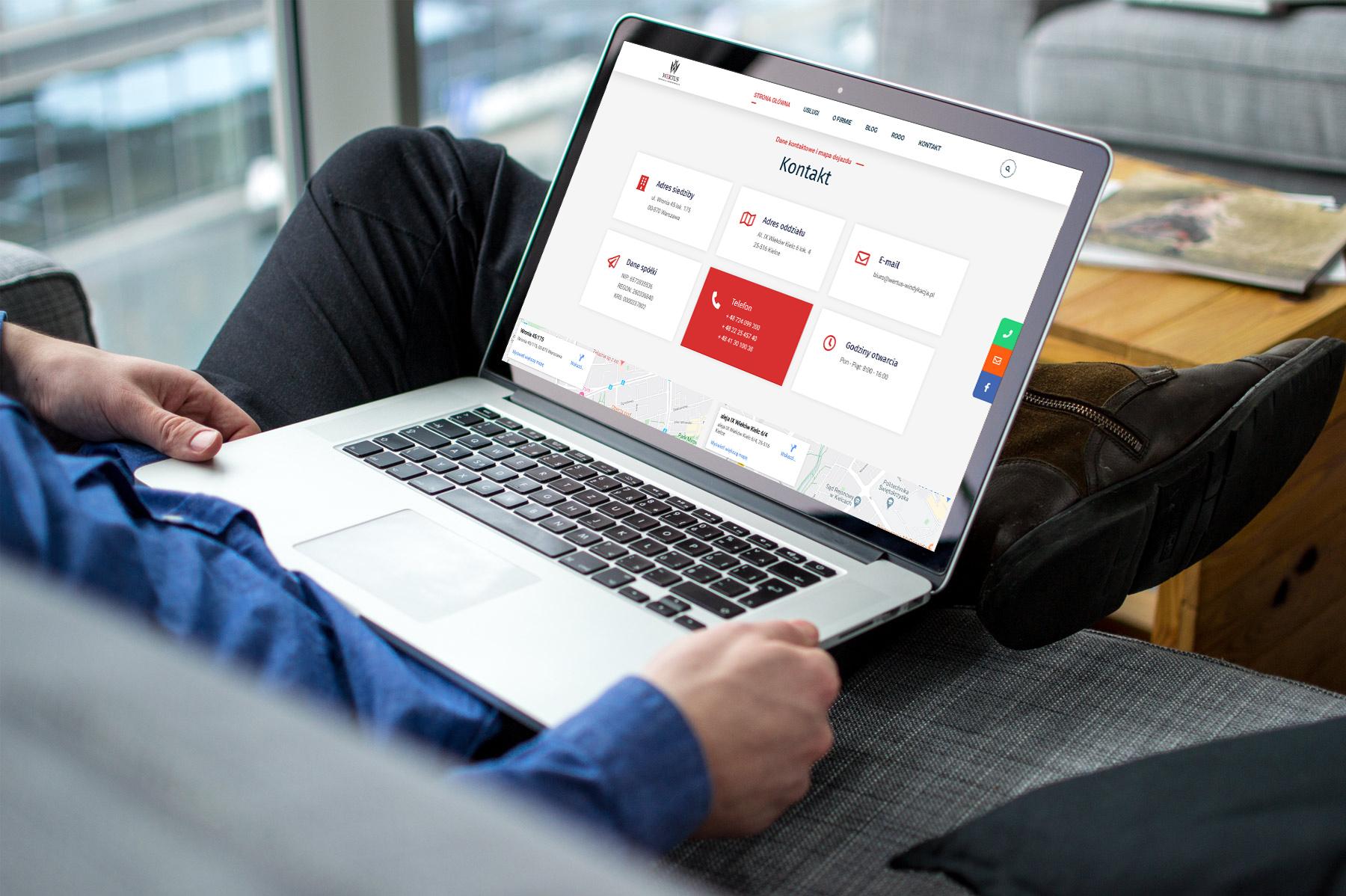 Strona internetowa dla firmy Wertus Windykacja i Restrukturyzacja